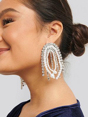 NA-KD Accessories smycke Multi Rhinestone Pearl Drop Earrings silver
