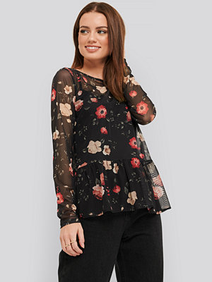 NA-KD Flower Print Mesh Top multicolor
