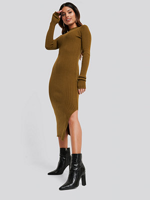 NA-KD Side Split Ribbed Knit Dress brun