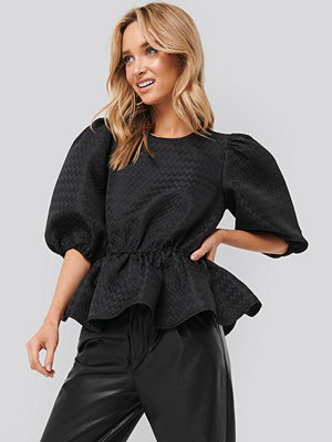 NA-KD Boho Structured Puff Blouse svart