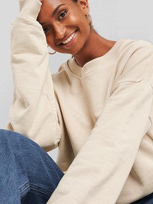 NA-KD Basic Oversized Crewneck Sweatshirt beige