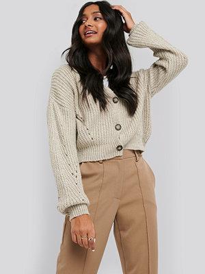 NA-KD Trend Oversize Crop Cardigan beige