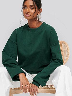 NA-KD Basic Oversized Crewneck Sweatshirt grön