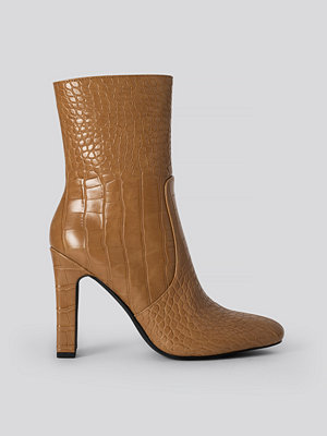 NA-KD Shoes Glossy Reptile Booties brun