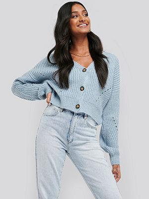 NA-KD Trend Oversize Crop Cardigan blå