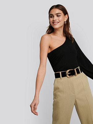 NA-KD Trend One Shoulder Balloon Sleeve Jersey Top svart