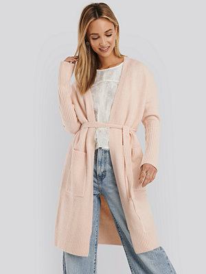 NA-KD Chunky Knit Long Cardigan rosa
