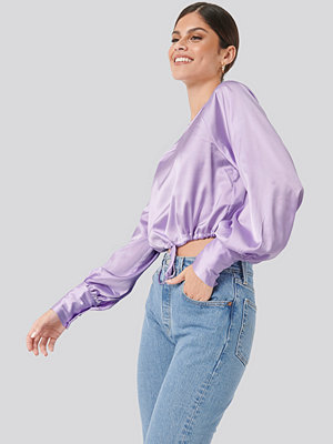 NA-KD Party Drawstring Detail Satin Blouse lila
