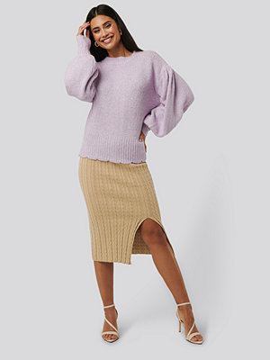 NA-KD Trend Knitted Pencil Skirt beige