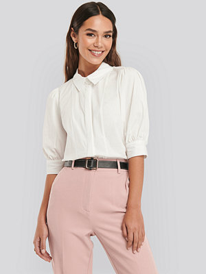 NA-KD Trend Puff Sleeve Panel Blouse vit