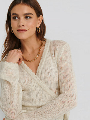 Cardigans - NA-KD Overlap Rib Detail Knitted Sweater vit