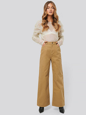 NA-KD Trend Wide Leg High Waisted Jeans beige