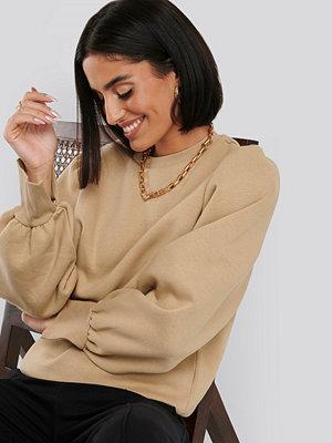 NA-KD Puff Sleeve Split Cuff Sweatshirt beige