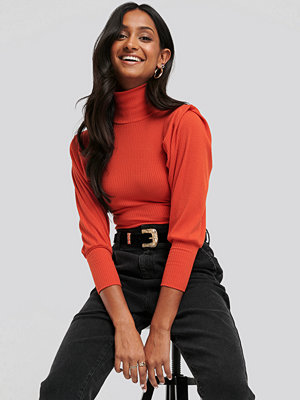 NA-KD Puffy Shoulder Ribbed Top orange