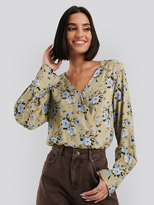 NA-KD Wide Cuff Wrap Blouse multicolor