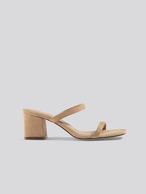 Pumps & klackskor - NA-KD Shoes Squared Two Strap Sandals beige