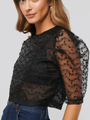 Toppar - NA-KD Party Embroidered Organza Blouse svart