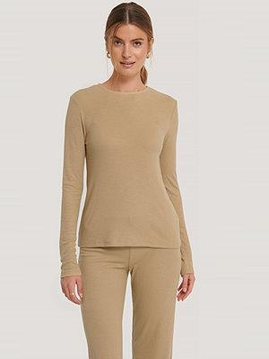 NA-KD Basic Soft Ribbed Roundneck Long Sleeve beige