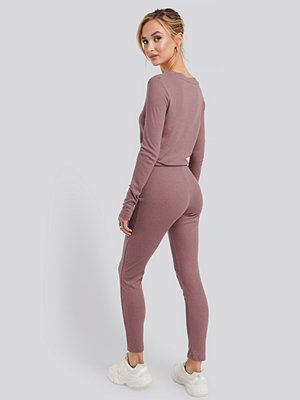 NA-KD Basic Soft Ribbed Highwaist Tights lila