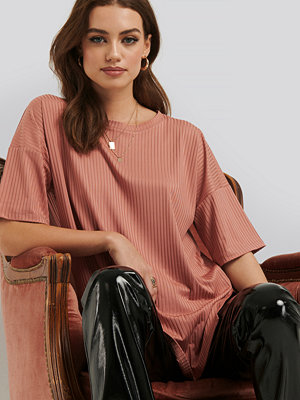 T-shirts - NA-KD Basic Ribbed Oversized Tee rosa