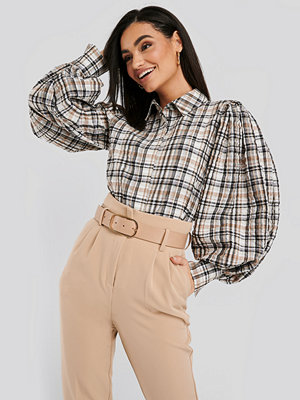NA-KD Trend Puff Sleeve Check Oversized Shirt multicolor