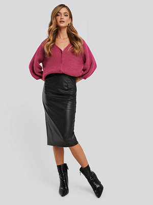 NA-KD Trend Faux Leather Midi Skirt svart