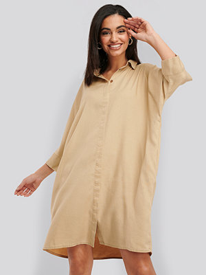NA-KD Tencel Boxy Short Sleeve Dress beige