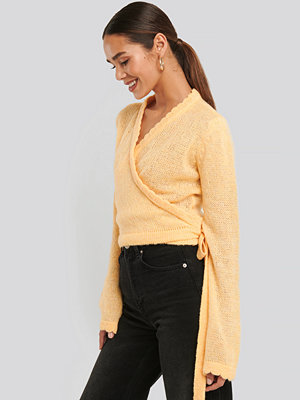 Cardigans - NA-KD Overlap Rib Detail Knitted Sweater gul