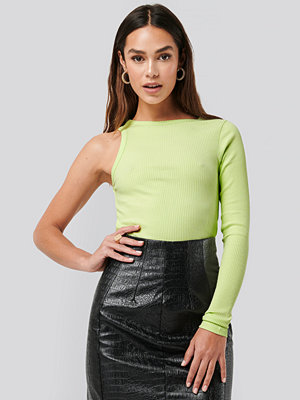NA-KD Trend One Sleeve Ribbed Top grön