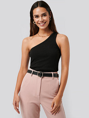 NA-KD Trend One Shoulder Ribbed Top svart