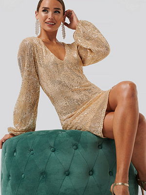 NA-KD Party Balloon Sleeve Sequin Mini Dress guld
