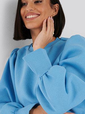 NA-KD Puff Sleeve Split Cuff Sweatshirt blå