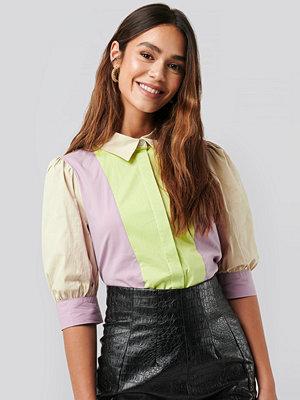 NA-KD Trend Puff Sleeve Panel Blouse multicolor