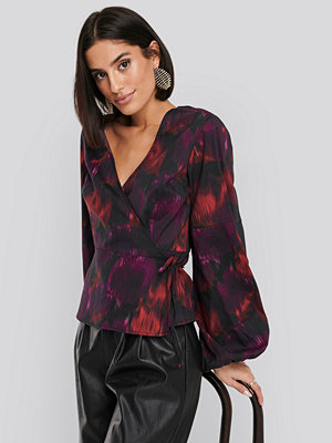 NA-KD Volume LS Wrap Over Blouse multicolor
