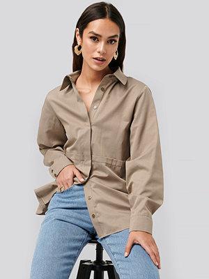 NA-KD Trend Fold Front Shirt brun