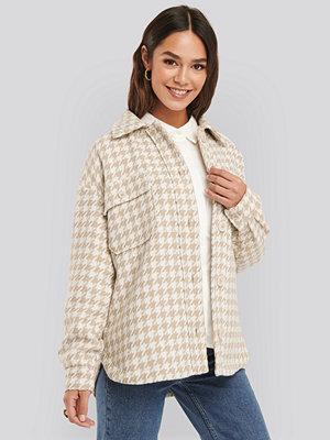 NA-KD Trend Wool Blend Dogtooth Jacket beige