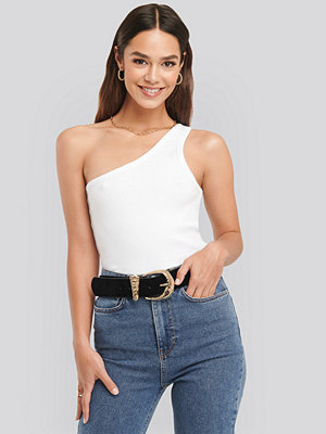 NA-KD Trend One Shoulder Ribbed Top vit