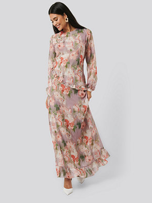 NA-KD Trend Flower Printed Midi Dress multicolor