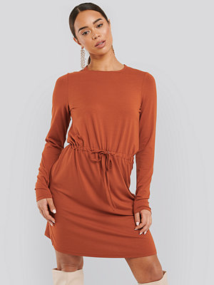 NA-KD Drawstring Jersey Dress orange