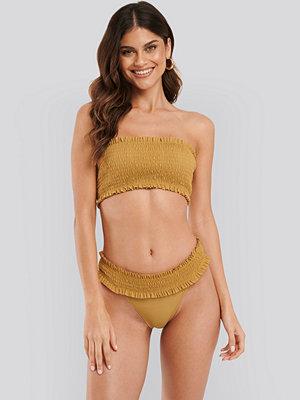 NA-KD Swimwear Smocked Flounce Bikini Panty brun
