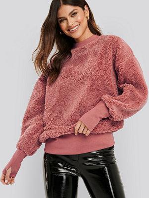 NA-KD Oversized Teddy Sweatshirt rosa
