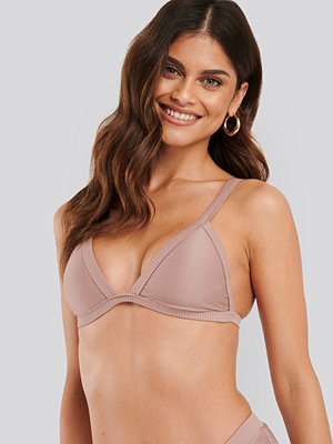 NA-KD Swimwear Ribbed Triangle Bikini Bra rosa