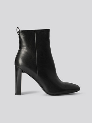NA-KD Shoes Squared Toe Slim Heel Boots svart