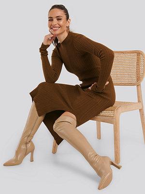 NA-KD Shoes Graphic Heel Overknee Boots beige