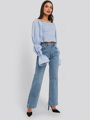 Jeans - NA-KD Trend Mid Rise Straight Leg Jeans blå