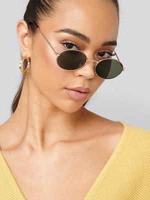 Solglasögon - NA-KD Accessories Oval Metal Frame Sunglasses guld