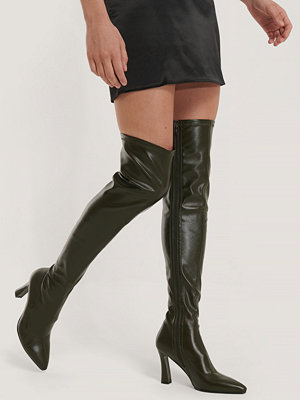 NA-KD Shoes Graphic Heel Overknee Boots grön