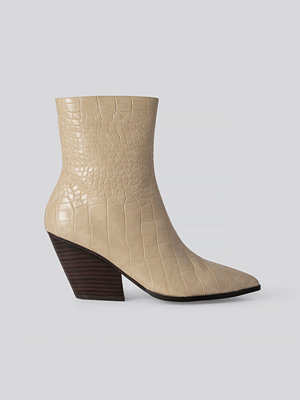 NA-KD Shoes Croc Western Heel Pointy Boots beige