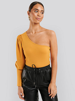 NA-KD One Puff Sleeve Crop Top gul