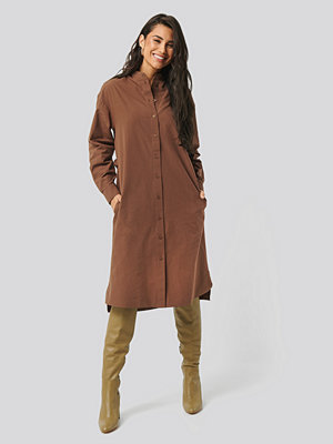 NA-KD Trend Adjustable Side Strap Shirt Dress brun